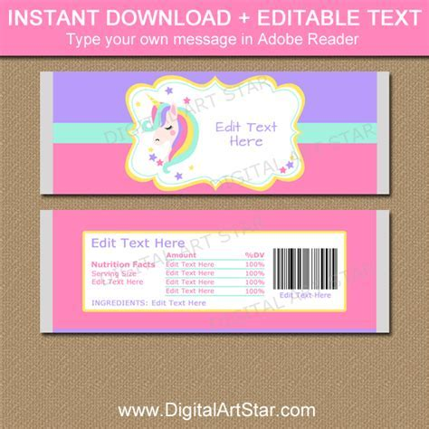 Unicorn Party Favors   Printable Candy Wrappers   Digital