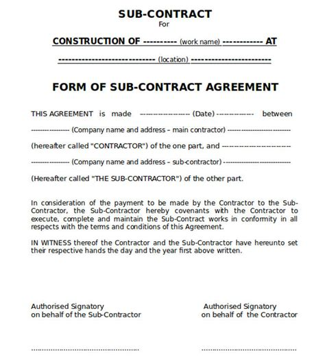 Construction Work Contract Template sle of conditions of sub contract agreement in