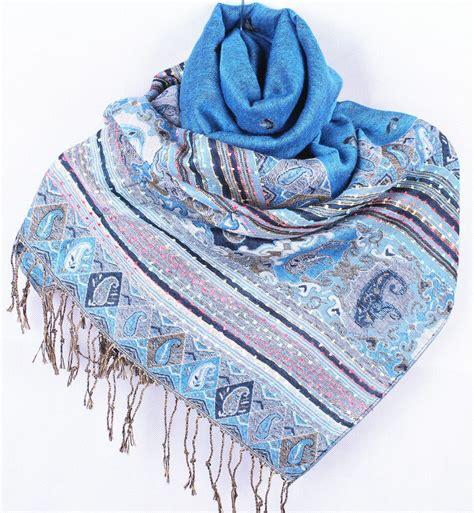 Pashmina Satin Silk 2 free shipping light blue s shawl reversible two pashmina silk shawl scarf honeybee