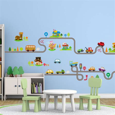 wall stickers for kids bedrooms cartoon car bus highway track wall stickers for kids