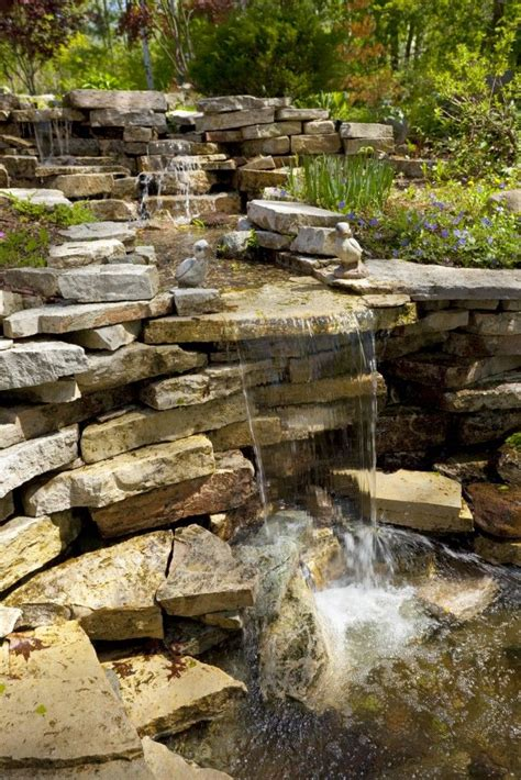 50 pictures of backyard garden waterfalls ideas designs shallow basin and stone