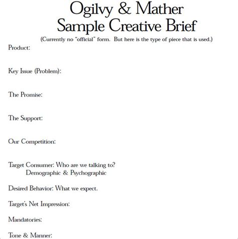 ogilvy creative brief template image collections