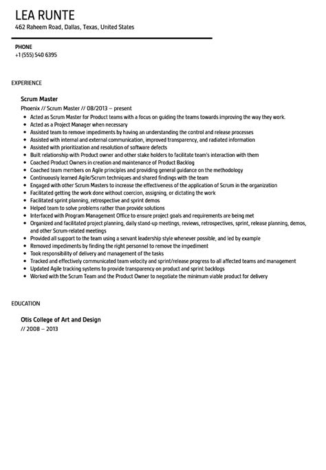 Scrum Master Resume by Scrum Master Resume Sle Velvet