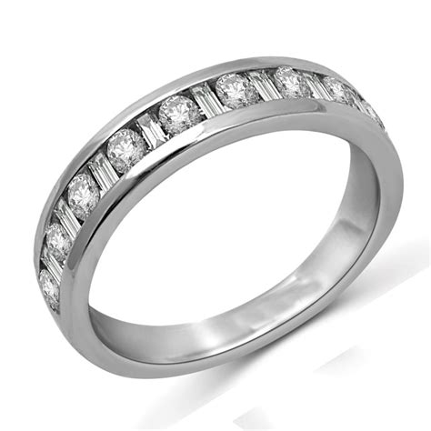 and baguette wedding band in white gold