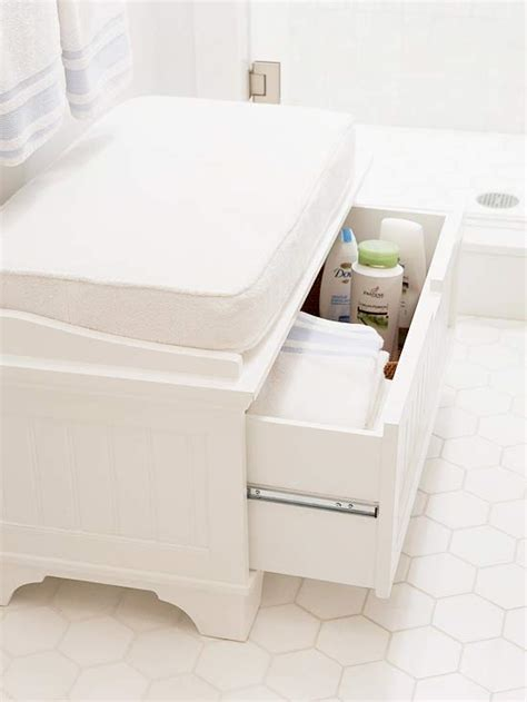 toilet bench bathroom bench storage transitional bathroom bhg