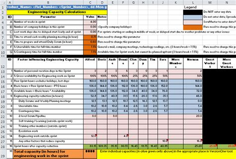 templates for daily work capacity planning calendar