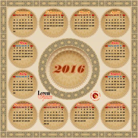 Calendario Circular Circular Calendar 2016 Vintage Vector 01 Vector Calendar