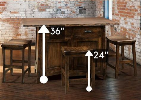counter height island table standard height vs counter height vs bar height amish