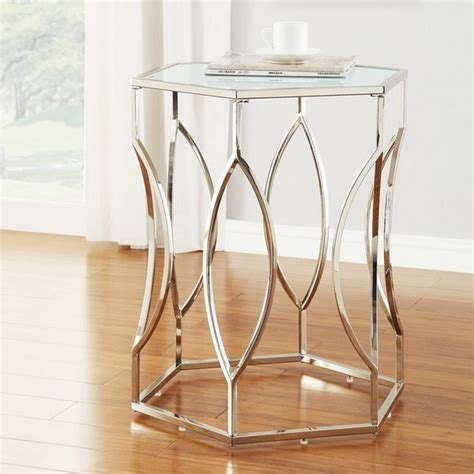 small glass accent table hexagonal metal frosted glass accent end table