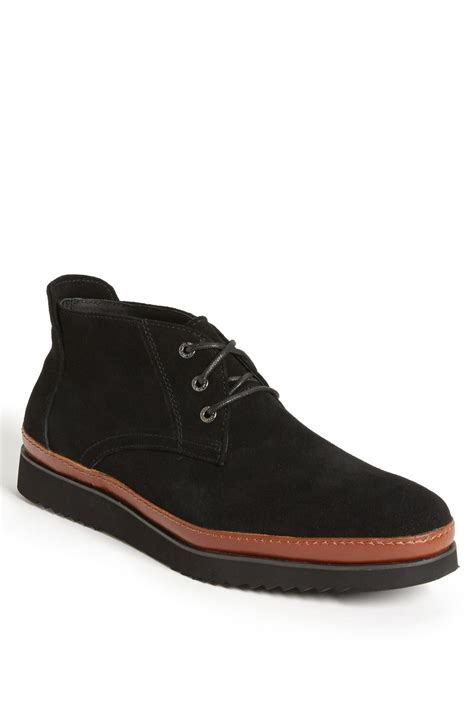 black chukka boots bugatchi vail chukka boot in black for lyst