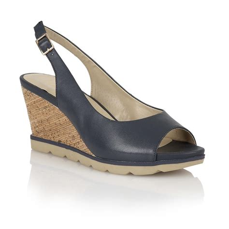 lotus maron navy leather sling back wedge sandals lotus
