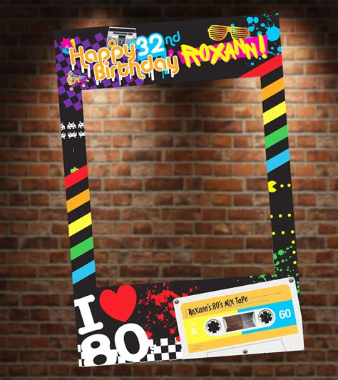 themes for photo booth 80 s theme photo booth party prop frame digital file