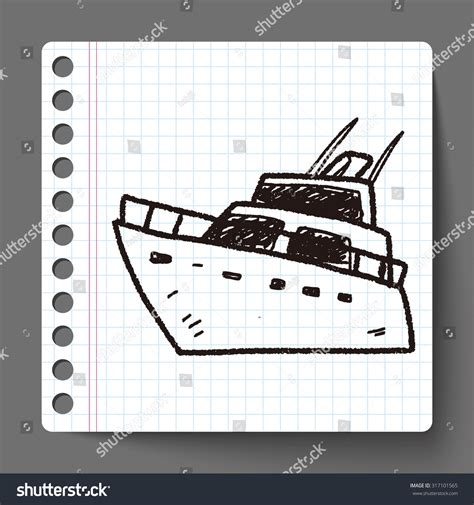 doodle boat boat doodle stock vector 317101565