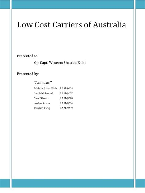 Low Cost Mba Programs In Australia by Low Cost Carriers Of Australia Docshare Tips