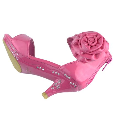 children high heels dress sandals patent flower rosette pageant high