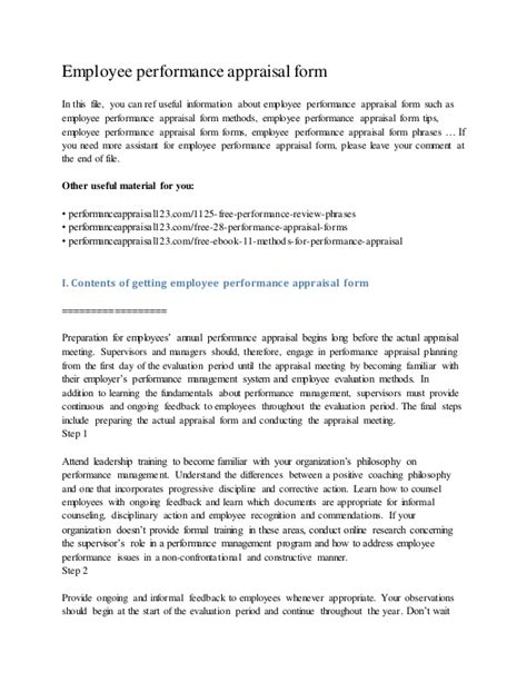 Mba Project On Performance Appraisal Pdf by Employee Performance Appraisal Form