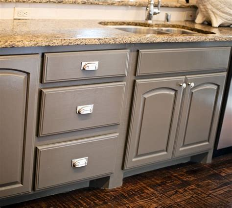 gray painted cabinets the center island and center island cabinets are quot porpoise quot from sherwin williams the hardware