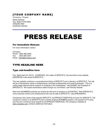 6 Press Release Templates Excel Pdf Formats News Release Template Free