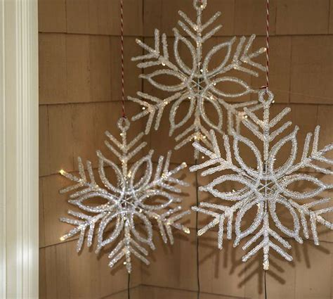 lit led snowflake pottery barn