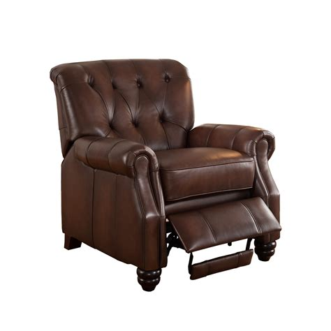 c recliner covington traditional top grain brown leather pushback