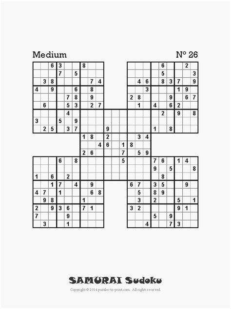 printable samurai sudoku grid medium samurai sudoku
