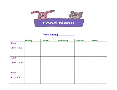 child care menu templates free 6 best images of printable sle day care menu food