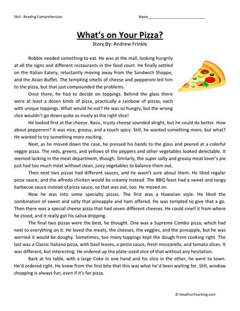 5th Grade Reading Comprehension Worksheets With Answers by Reading Comprehension Worksheet What S On Your Pizza