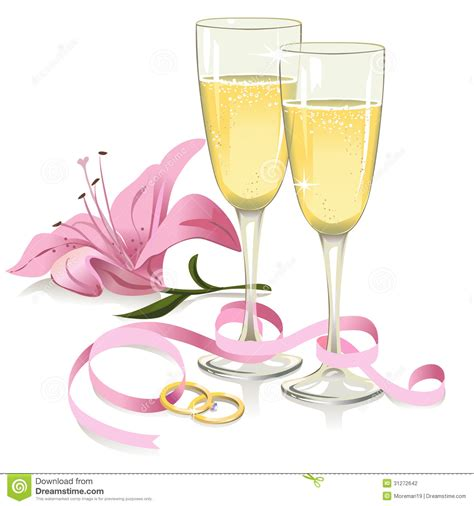 Wedding Glasses With Rings, Ribbon And Lily Stock Photography   Image: 31272642