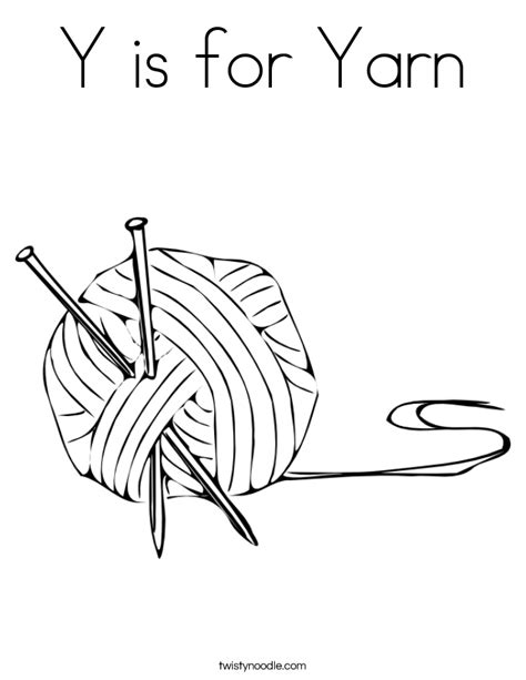 Y Is For Yarn Coloring Page Twisty Noodle A Is For Coloring Pages