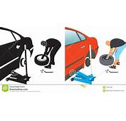 Auto Repair Changing Punctured Tire Stock Vector