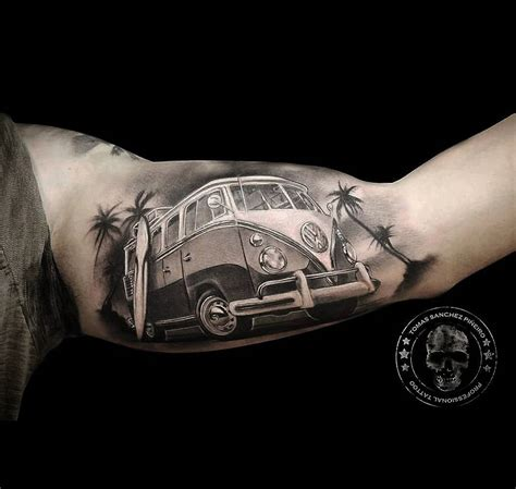 surf s up vw camper mens inner bicep piece best tattoo