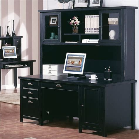 black home office desk with hutch kathy ireland home by martin tribeca loft pedestal