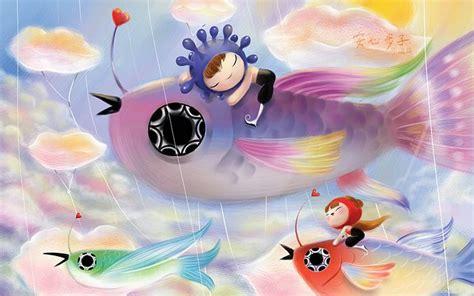 cartoons themes windows 7 flying fish lovely cartoon characters wallpaper 1