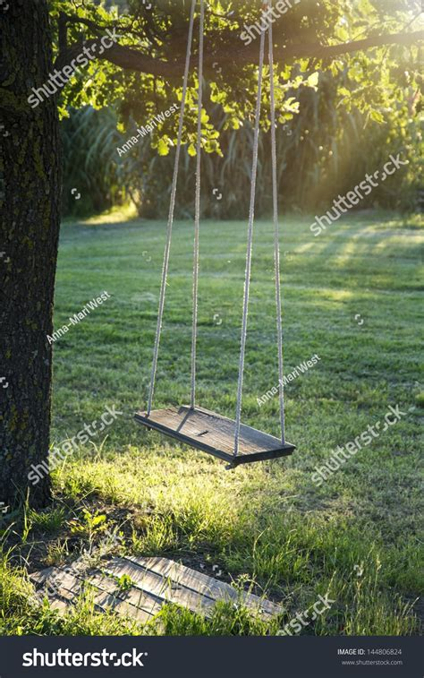 vintage tree swing old wooden vintage garden swing hanging stock photo
