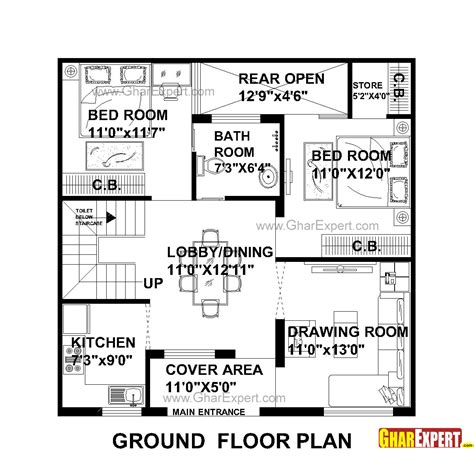 1 gaj in sq feet house plan for 31 feet by 31 feet plot plot size 107