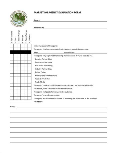 marketing agency template 9 marketing evaluation form sles templates pdf doc
