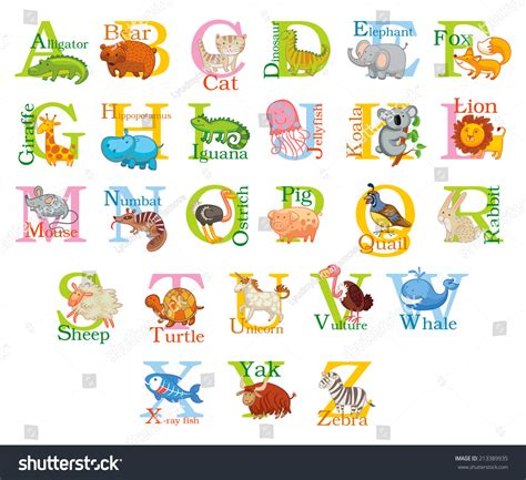 animal alphabet character stock vector 213389935