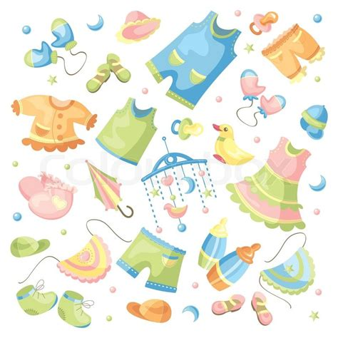 baby cute wallpaper vector vector set of baby clothing and accessories stock vector