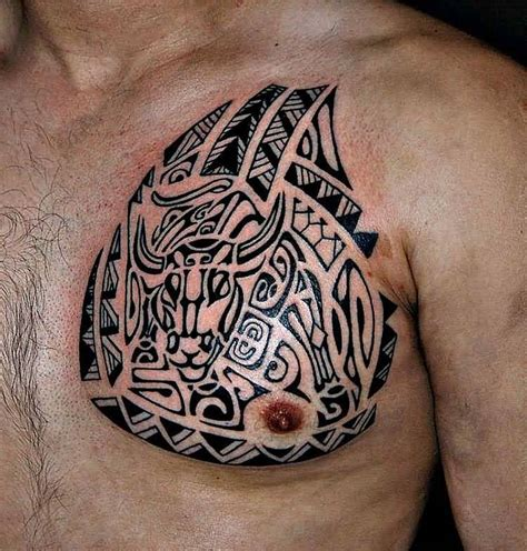tattoo on left or right chest 45 tribal chest tattoos for men