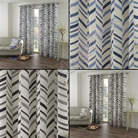 blue and cream curtains kato chevron striped ring top lined pair eyelet curtains