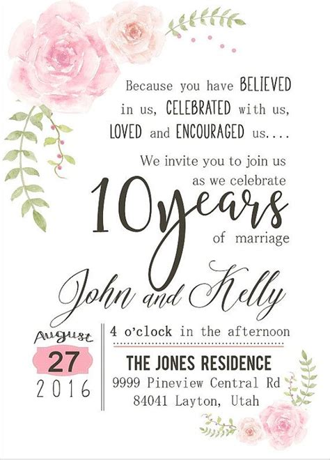 10th wedding anniversary invitation wording custom watercolor flower 10th year anniversary invitation