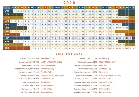 2018 yearly calendar template free excel calendar templates