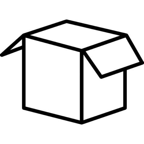 Outlined Box by Box Outline Shape Opened Icons Free
