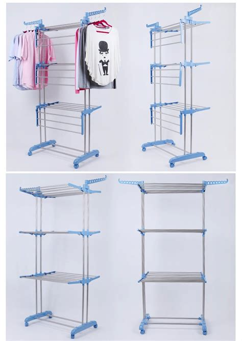 Vertical Clothes Drying Rack by Stainless Steel Plus Plastic Hanging Vertical 3 Tier Foldable Laundry Drying Rack Buy Laundry