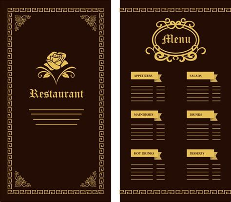 design menu free download restaurant menu template flower classical design on dark