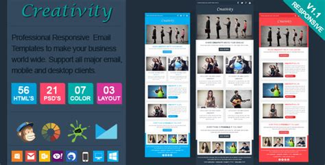 Creativity Clean Responsive Email Template By Actualpixel Themeforest Creative Email Templates