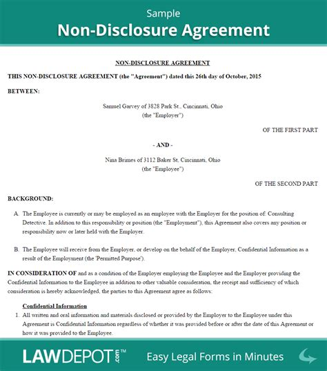 Free Non Disclosure Agreement Create Download And Print Lawdepot Us Non Disclosure Statement Template
