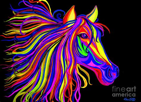 colorful horses colorful rainbow digital by nick gustafson