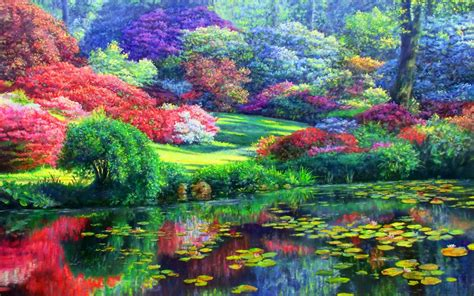 colorful trees colorful trees lily pond wallpapers colorful trees