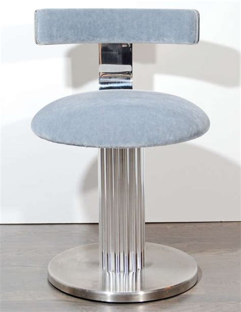 Modernist Klismos Back Swivel Vanity Stool Image 2 Swivel Vanity Chair With Back